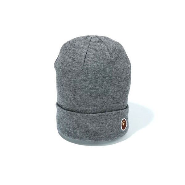 BAPE APE HEAD ONE POINT KNIT CAP HEATHER GREY SS19