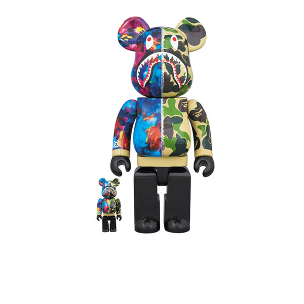 BAPE X MIKA NINAGAWA X BEARBRICK SHARK GREEN 100% & 400% SET
