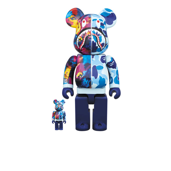 BAPE X MIKA NINAGAWA X BEARBRICK SHARK BLUE 100% & 400% SET