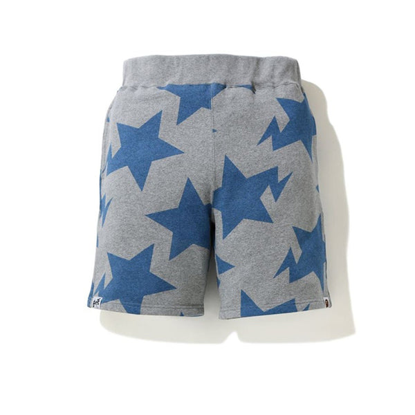 BAPE STA PATTERN SWEAT SHORTS GRAY BLUE