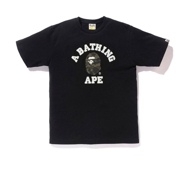 BAPE 1ST CAMO COLLEGE TEE BLACK GREEN