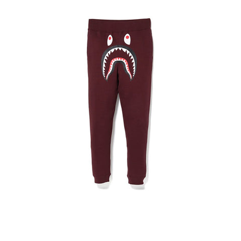 BAPE SHARK SLIM SWEAT PANTS BURGUNDY/GREEN
