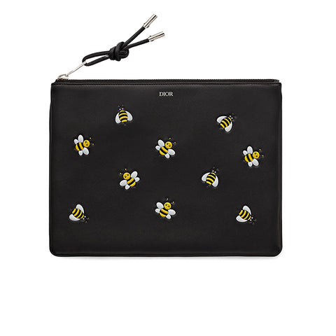 DIOR X KAWS POUCH YELLOW BEES BLACK