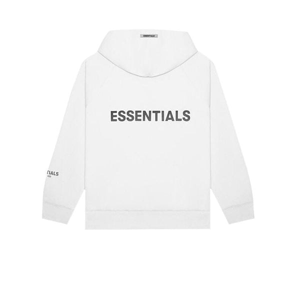 FEAR OF GOD ESSENTIALS 3D SILICON APPLIQUE FULL ZIP UP HOODIE WHITE