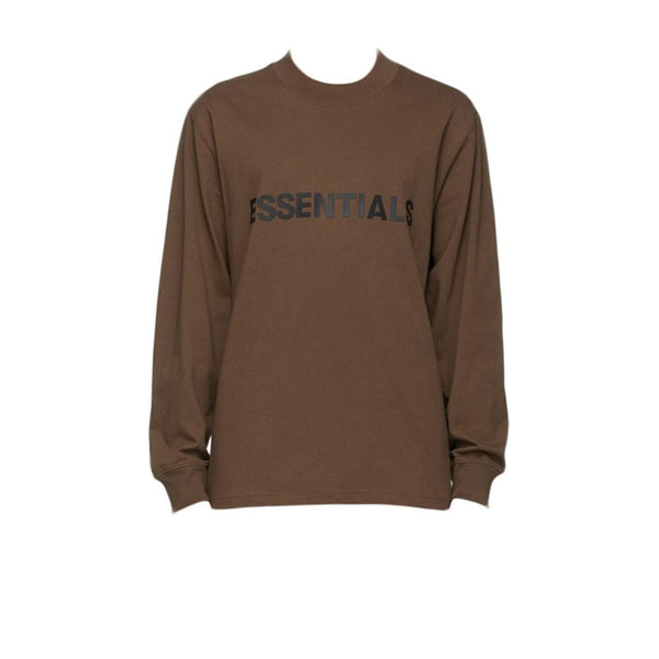 FEAR OF GOD ESSENTIALS 3D SILICON APPLIQUE BOXY LONG SLEEVE T-SHIRT BROWN