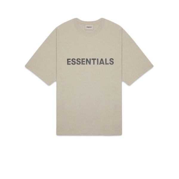 FEAR OF GOD ESSENTIALS 3D SILICON APPLIQUE BOXY TEE OLIVE KHAKI