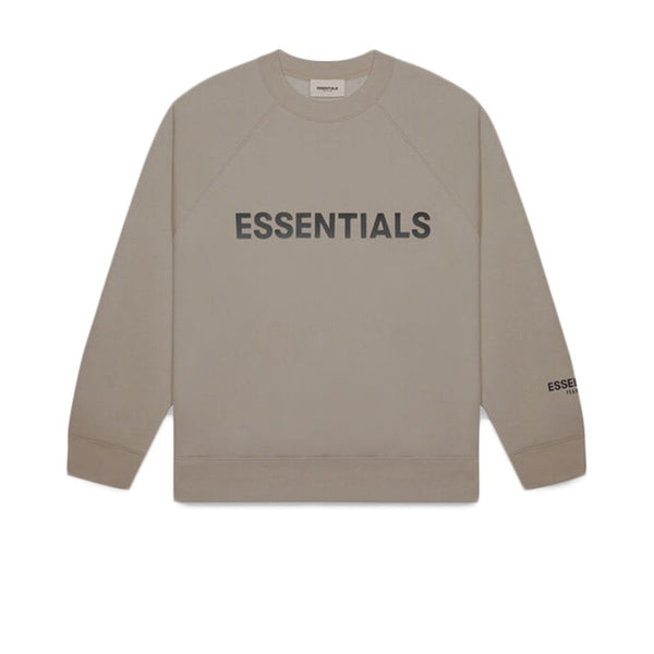 FEAR OF GOD ESSENTIALS 3D SILICON APPLIQUE CREWNECK TAUPE UMBER