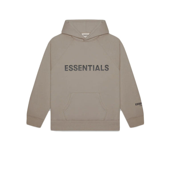 FEAR OF GOD ESSENTIALS 3D SILICON APPLIQUE PULLOVER HOODIE TAUPE UMBER