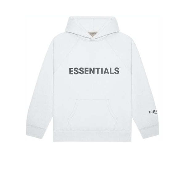 FEAR OF GOD ESSENTIALS 3D SILICON APPLIQUE PULLOVER HOODIE WHITE