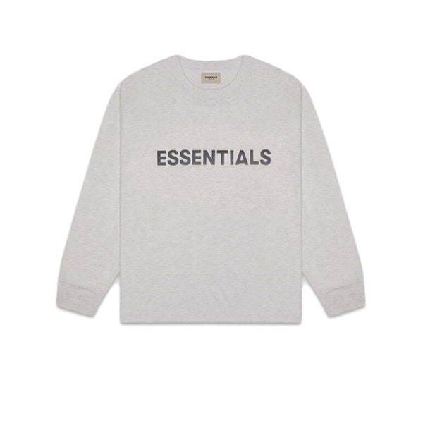 FEAR OF GOD ESSENTIALS 3D SILICON APPLIQUE BOXY LONG SLEEVE TEE DARK HEATHER OATMEAL