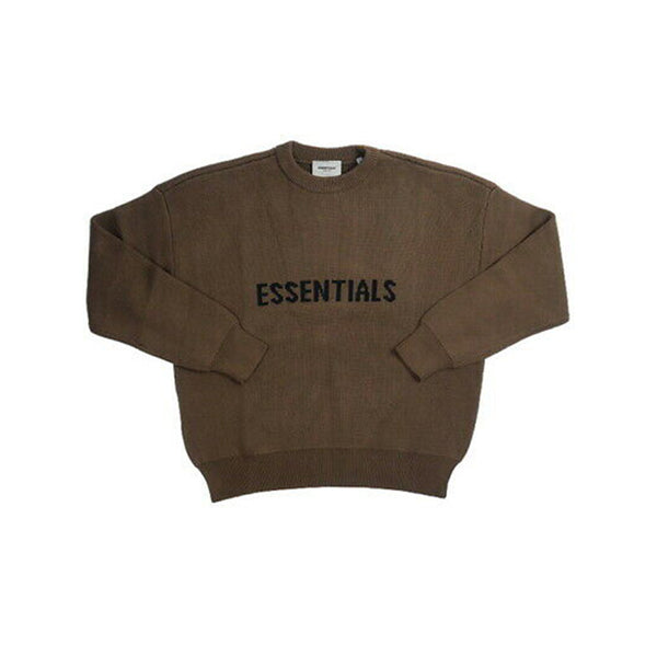 FEAR OF GOD ESSENTIALS KNIT SWEATER BROWN