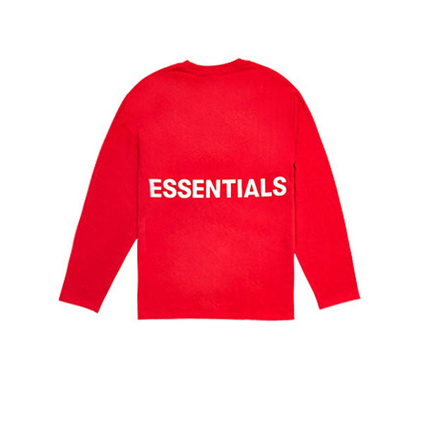 "FEAR OF GOD ESSENTIALS BOXY GRAPHIC LONG SLEEVE T-SHIRT ""RED"" FW18"