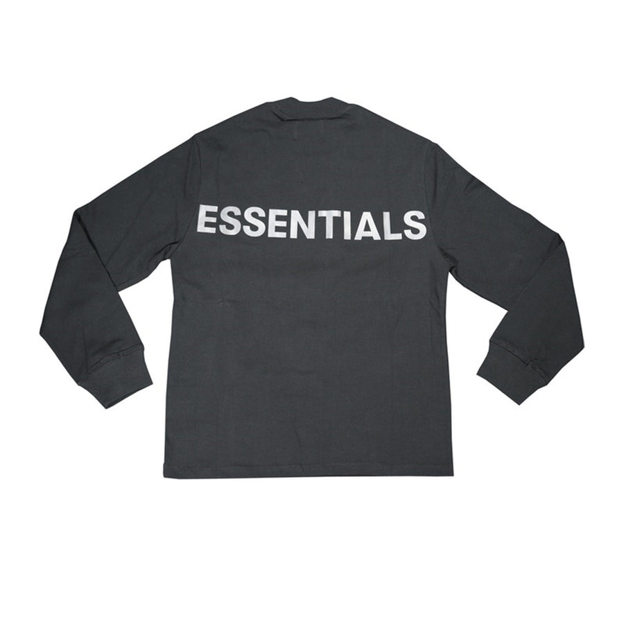 FEAR OF GOD ESSENTIALS 3M BOXY LOGO LONG SLEEVE TEE BLACK FW19
