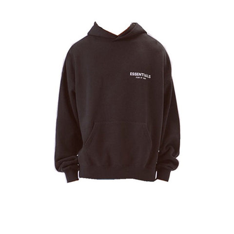 FEAR OF GOD ESSENTIALS LOGO PULLOVER HOODIE BLACK FW19