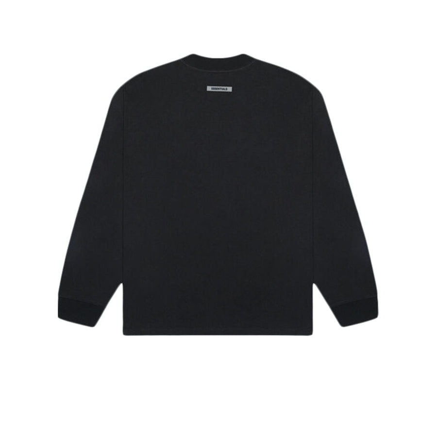 FEAR OF GOD ESSENTIALS 3D SILICON APPLIQUE BOXY LONG SLEEVE TEE DARK SLATE STRETCH LIMO BLACK
