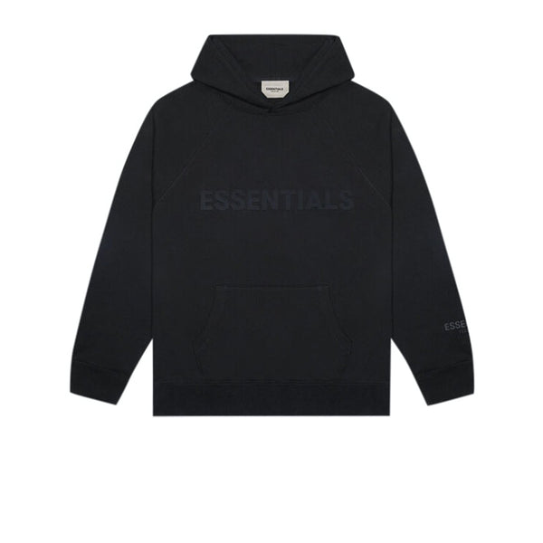 FEAR OF GOD ESSENTIALS 3D SILICON APPLIQUE PULLOVER HOODIE DARK SLATE STRETCH LIMO BLACK