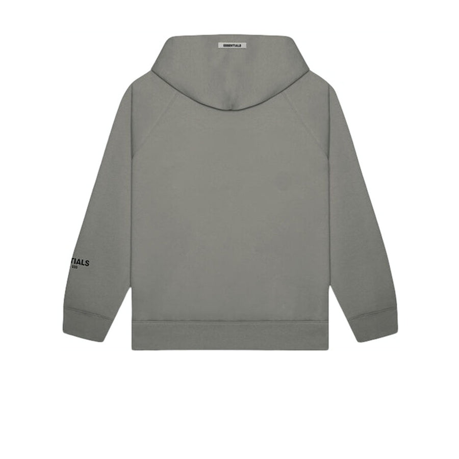FEAR OF GOD ESSENTIALS 3D SILICON APPLIQUE PULLOVER HOODIE GRAY FLANNEL CHARCOAL