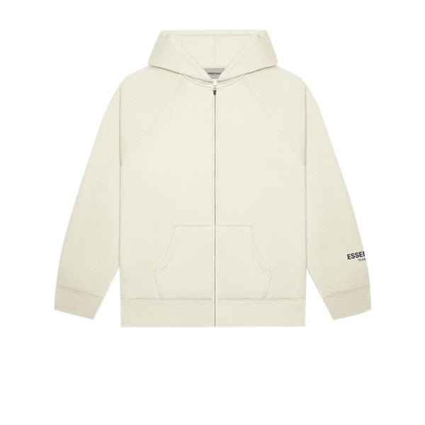 FEAR OF GOD ESSENTIALS 3D SILICON APPLIQUE FULL ZIP UP HOODIE OATMEAL HEATHER
