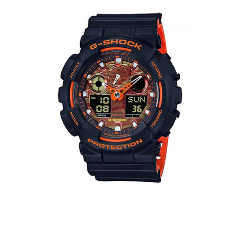 G-SHOCK BLACK WITH ORANGE ANALOG DIGITAL GA100BR-1A