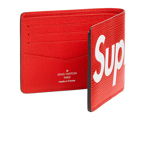 "LOUIS VUITTON X SUPREME SLENDER WALLET EPI ""RED"" 2017"