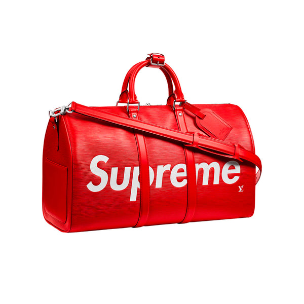 LOUIS VUITTON X SUPREME KEEPALL BANDOULIERE EPI 45 RED