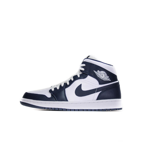 "AIR JORDAN 1 MID ""WHITE METALLIC GOLD OBSIDIAN"" 2019 554724-174"