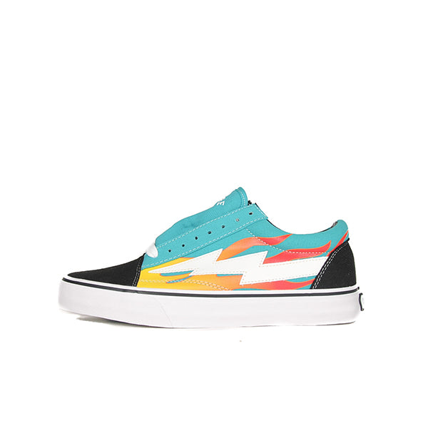 "REVENGE X STORM LOW TOP ""TEAL WITH FLAMES"""