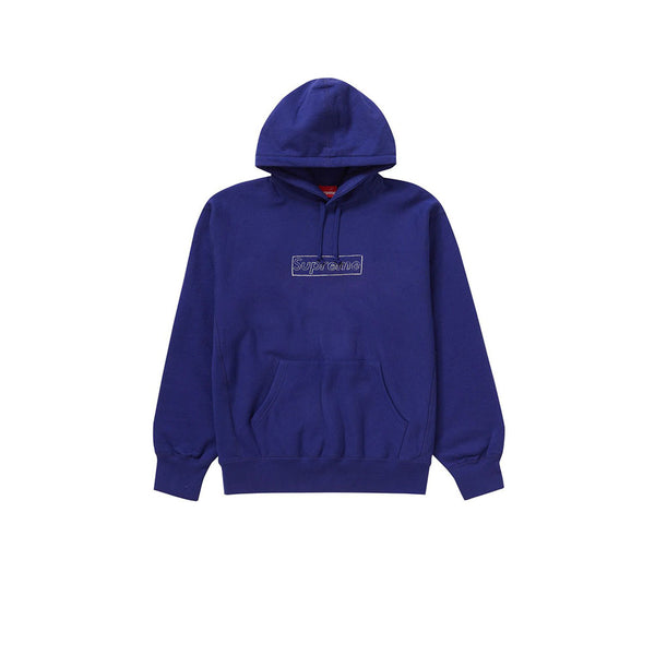 SUPREME KAWS CHALK LOGO HOODED SWEATSHIRT WASHED NAVY SS21