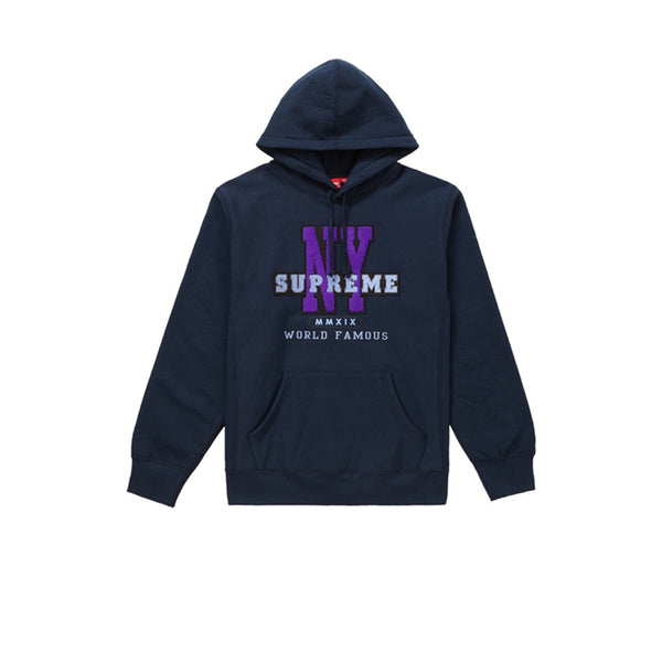 SUPREME NY HOODED SWEARSHIRT NAVY FW19