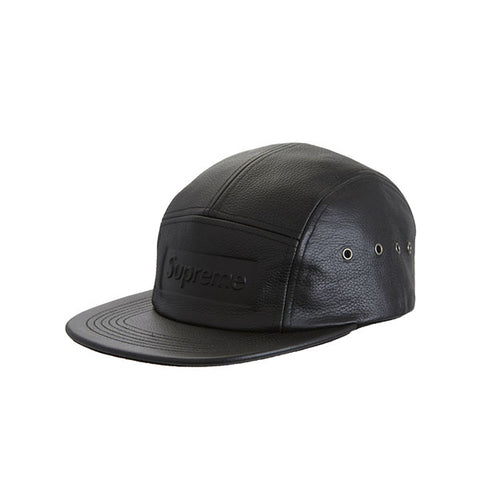 SUPREME PEBBLED LEATHER CAMP CAP BLACK SS19