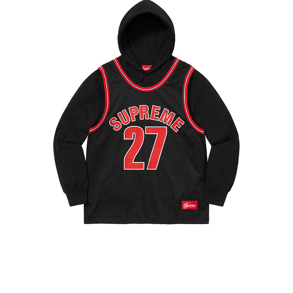 SUPREME BASKETBALL JERSEY HOODED SWEATSHIRT BLACK SS21