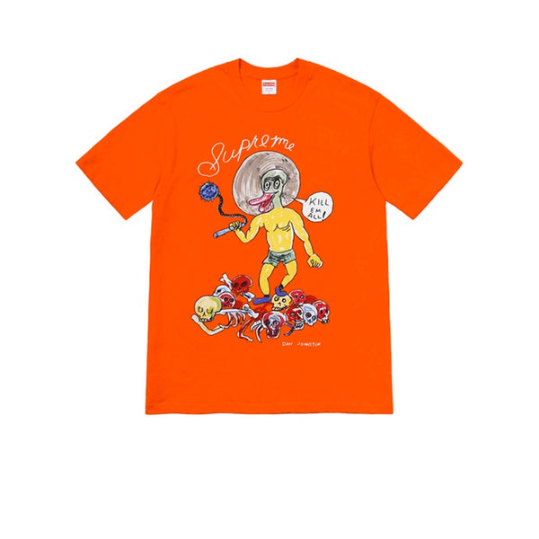 SUPREME DANIEL JOHNSTON KILL EM ALL TEE ORANGE SS20