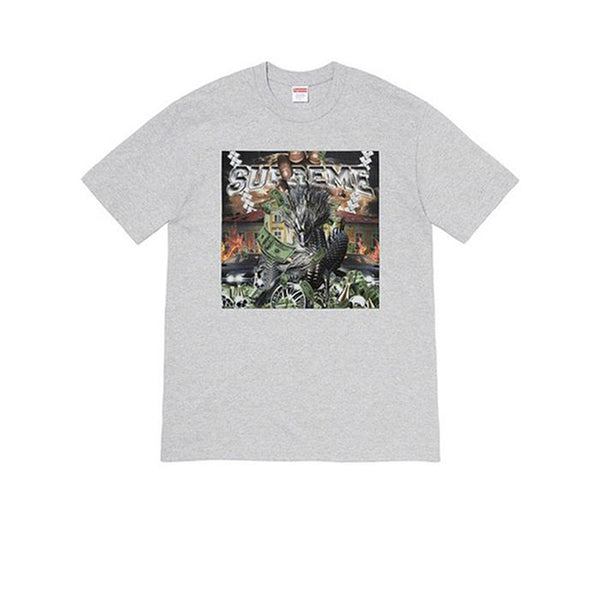 SUPREME DRAGON TEE HEATHER GREY SS20