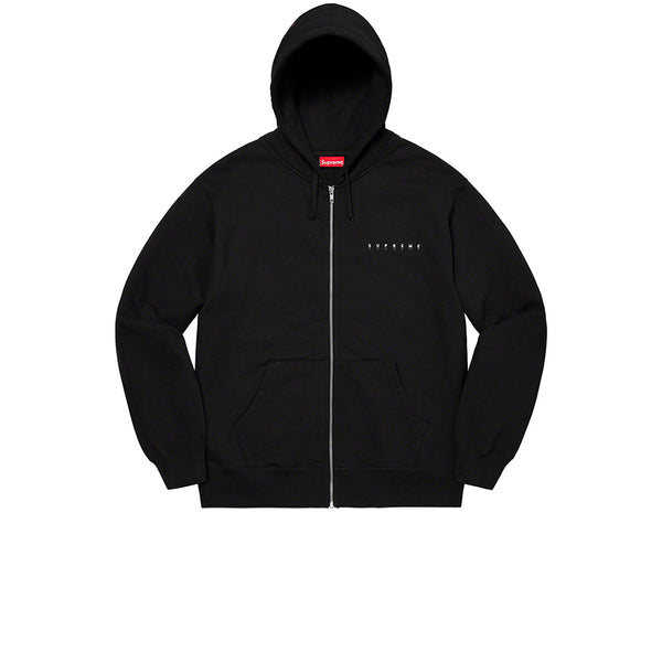 SUPREME GLOBE ZIP UP HOODED SWEATSHIRT BLACK FW20