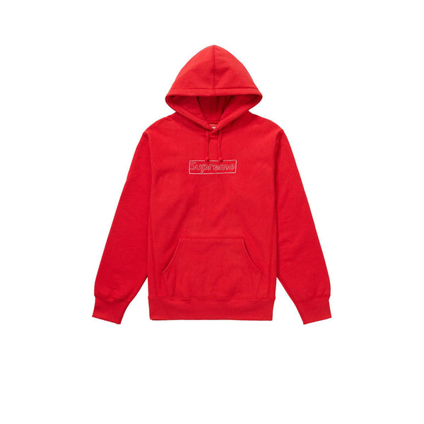SUPREME KAWS CHALK LOGO HOODED SWEATSHIRT RED SS21