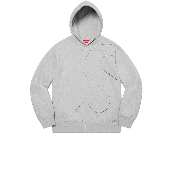 SUPREME LASER CUT S LOGO HOODED SWEATSHIRT HEATHER GREY SS21