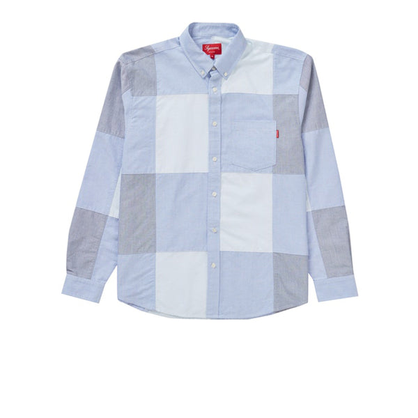 SUPREME PATCHWORK OXFORD SHIRT BLUE FW20