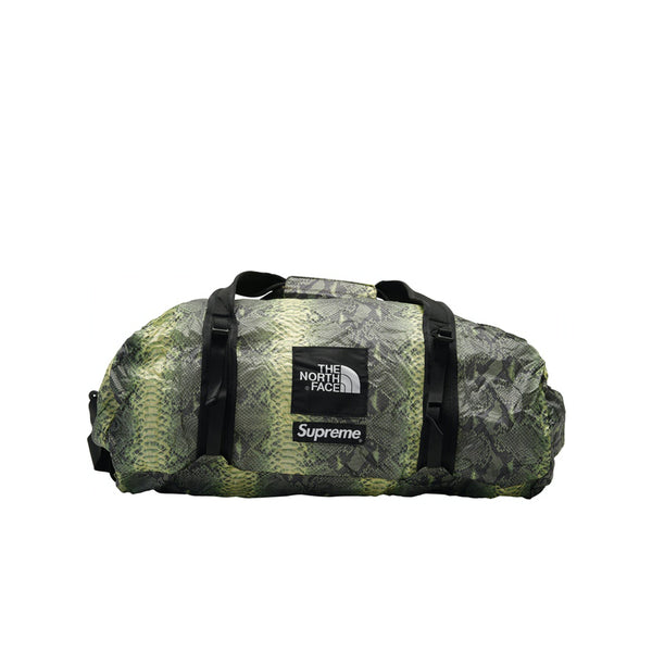 THE NORTH FACE X SUPREME SNAKESKIN FLYWEIGHT DUFFLE BAG GREEN SS18