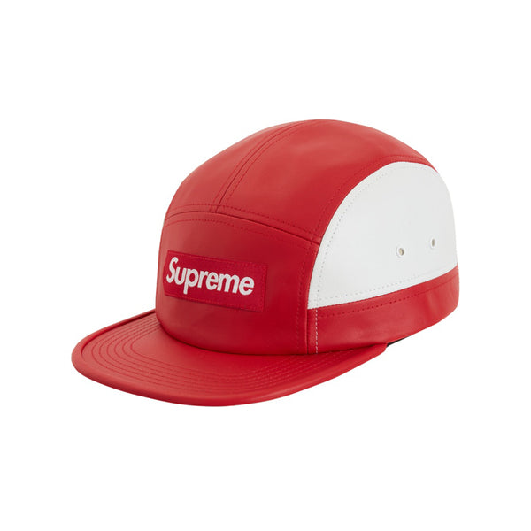 SUPREME 2-TONE LEATHER CAMP CAP RED FW19