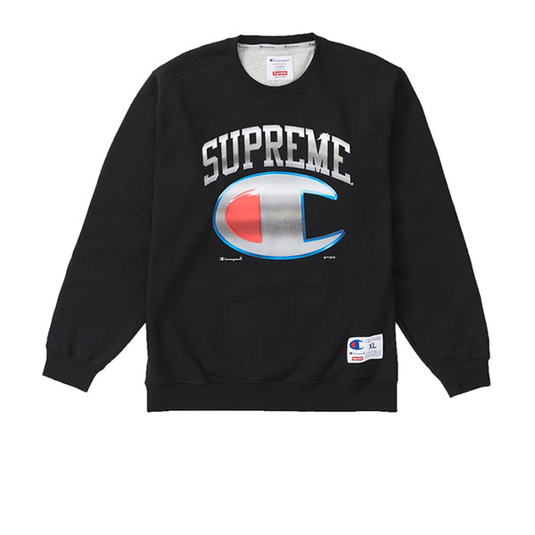 SUPREME CHAMPION CHROME CREWNECK BLACK SS19