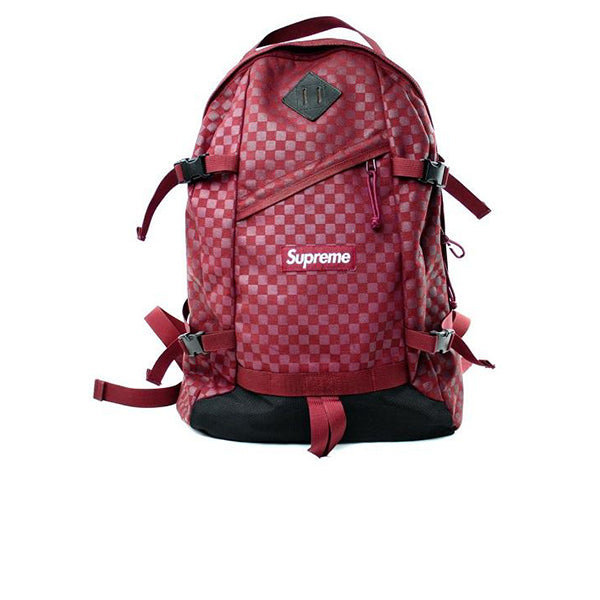 SUPREME DAMIER CHECKERED BACKPACK BURGUNDY FW11