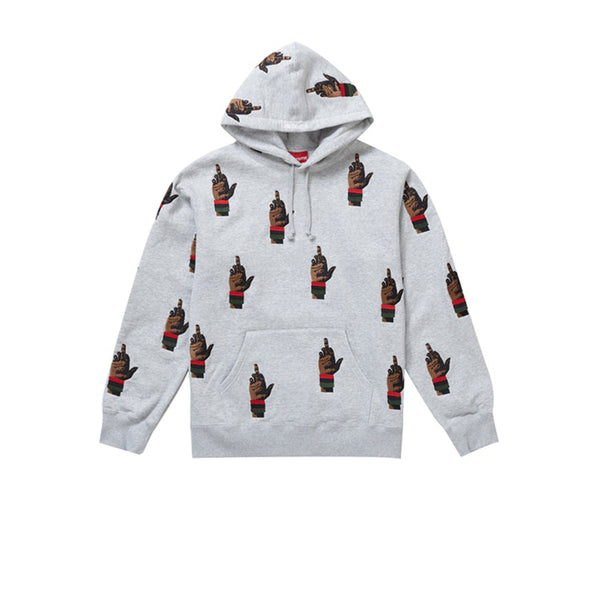 SUPREME DEAD PREZ RBG EMBROIDERED HOODED SWEATSHIRT HEATHER GREY FW19