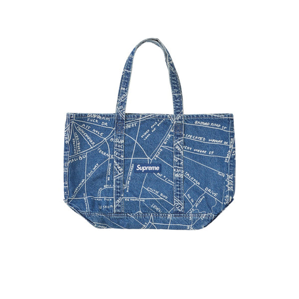 SUPREME GONZ MAP DENIM TOTE WASHED BLUE SS19