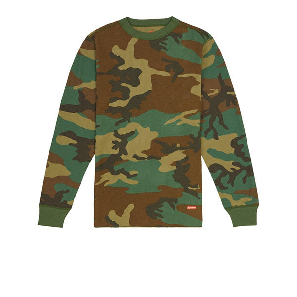 SUPREME HANES THERMAL CREW (1 PACK) WOODLAND CAMO FW19