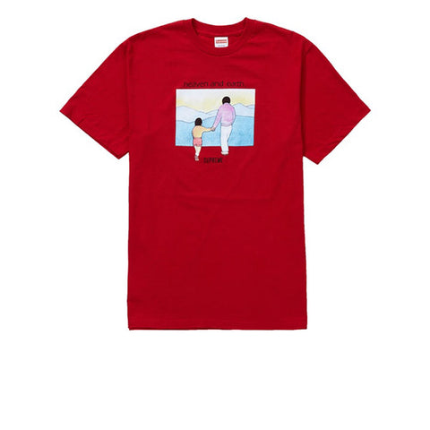 SUPREME HEAVEN AND EARTH TEE RED FW19
