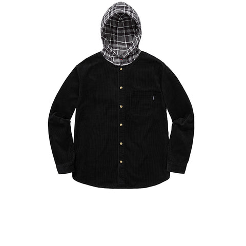 SUPREME HOODED COLOR BLOCKED CORDUROY SHIRT BLACK/GREY FW18