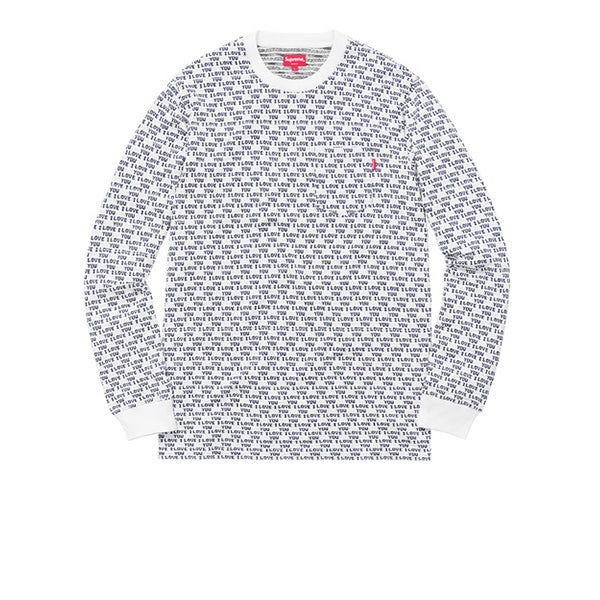 "SUPREME I LOVE YOU JACQUARD LONG SLEEVE TOP ""WHITE"" FW16"