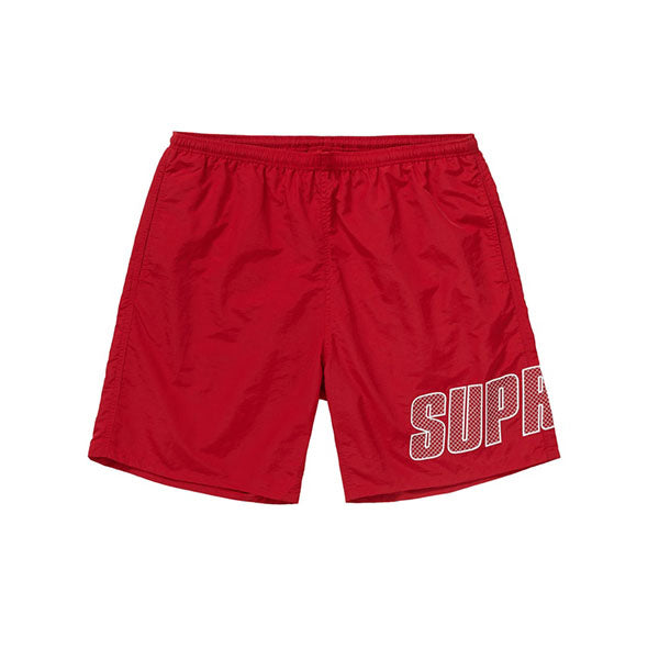SUPREME LOGO APPLIQUE WATER SHORTS RED SS19