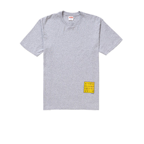 SUPREME MIDDLE FINGER TO THE WORLD TEE HEATHER GREY SS19