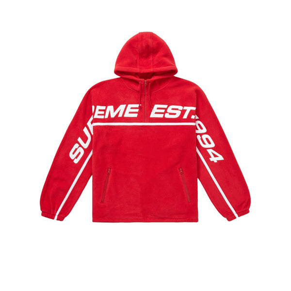 SUPREME POLARTEC HALF ZIP HOODED SWEATSHIRT RED FW19